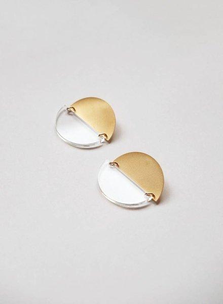 Baleen Halfsies Earrings - Gold/Clear