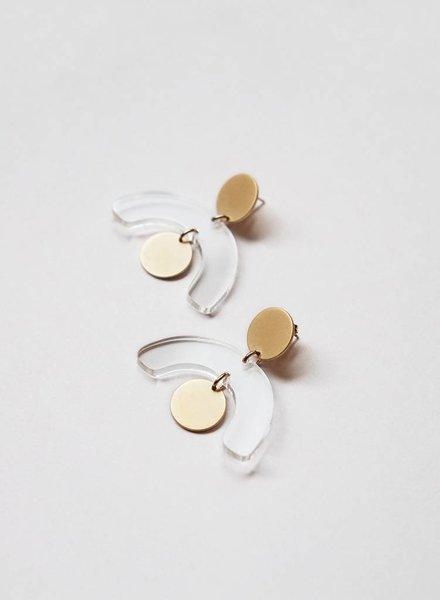 Baleen Mobile Earrings- Gold/Clear