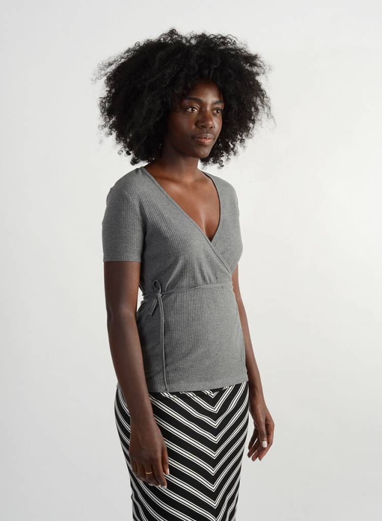 Wrap Tee - Heather Grey