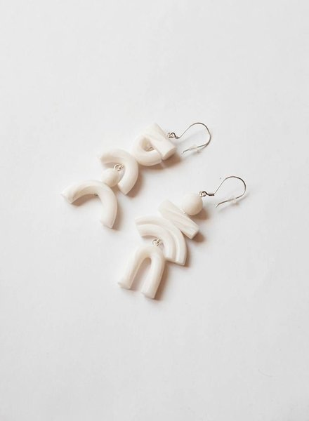 Tsunja White Asymmetrical Earrings