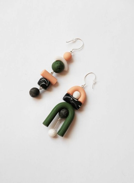 Tsunja Green Asymmetrical Earrings