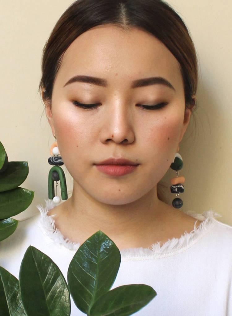 Tsunja Green Asymmetrical Earrings