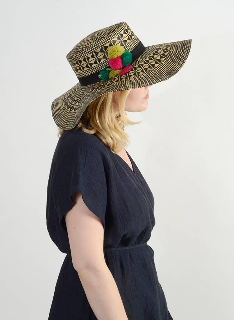 Printed Floppy Hat with Pom Trim