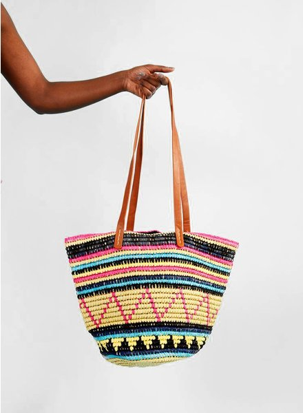 Striped Seagrass Tote