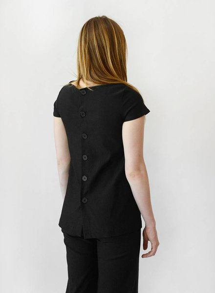 Button Back Top - Black