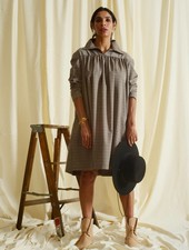 Derby Yoke Dress - Sand Plaid