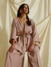 Vienna Wrap Top - Dusty Pink