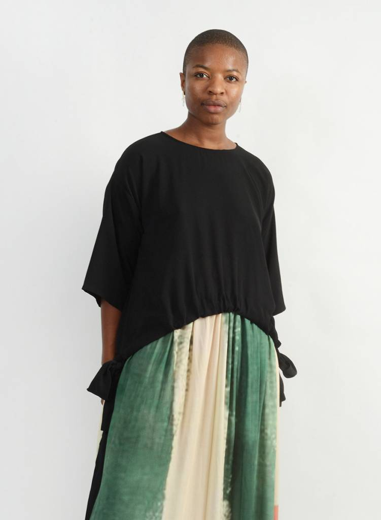 Abstraction Drawstring Top - Black