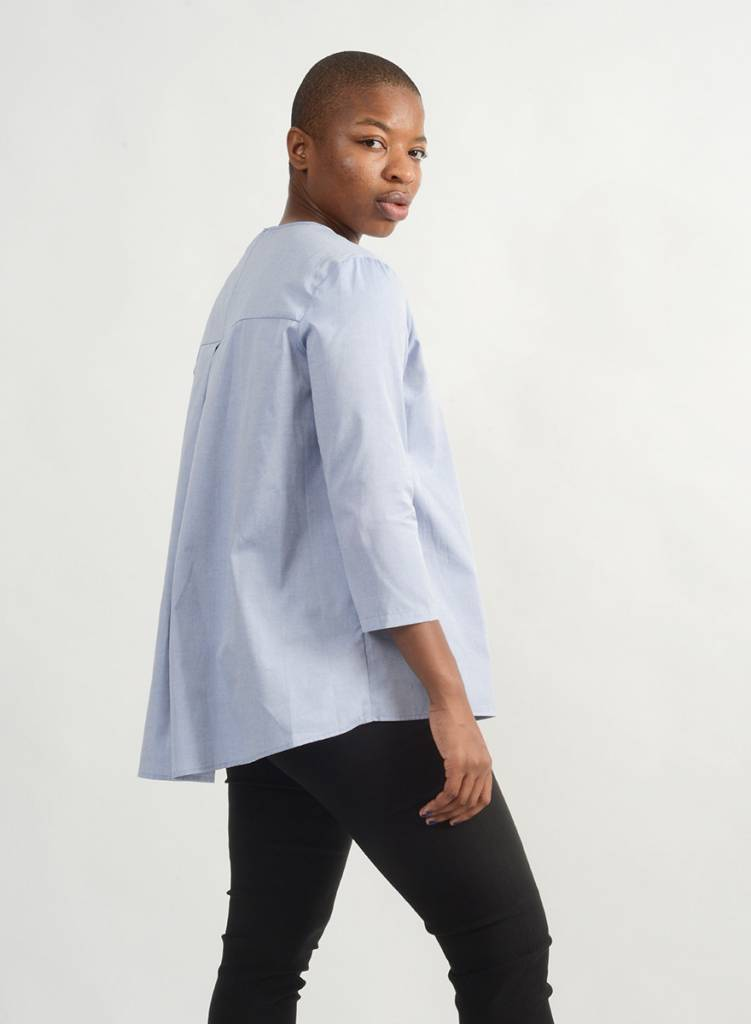 Oxford Invert Pleat Shirt - Blue