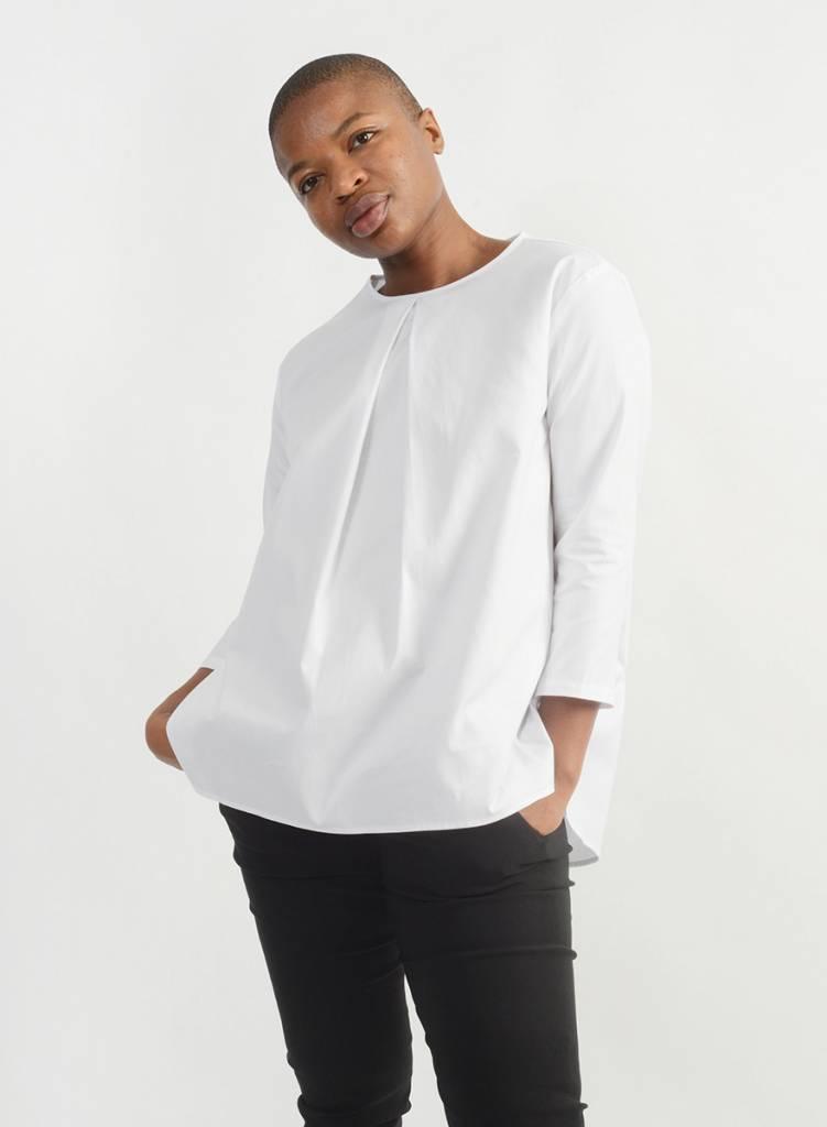Oxford Invert Pleat Shirt - White