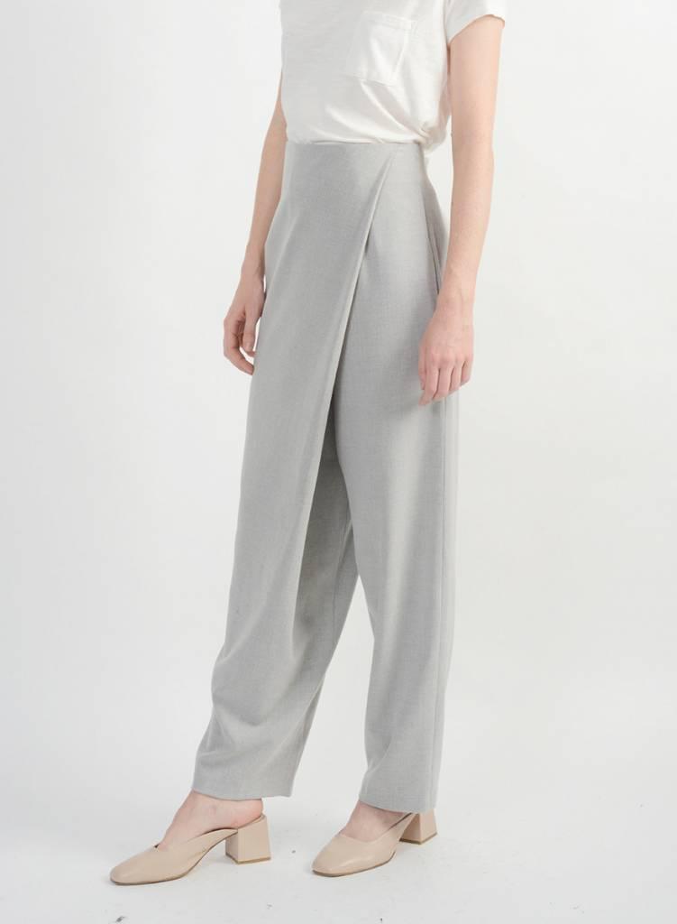 Faux Wrap Pant - Silver