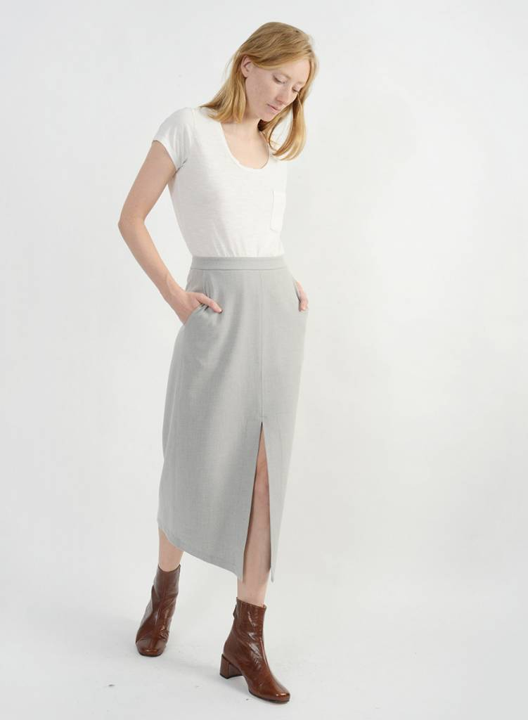 Long Relaxed Skirt - Silver