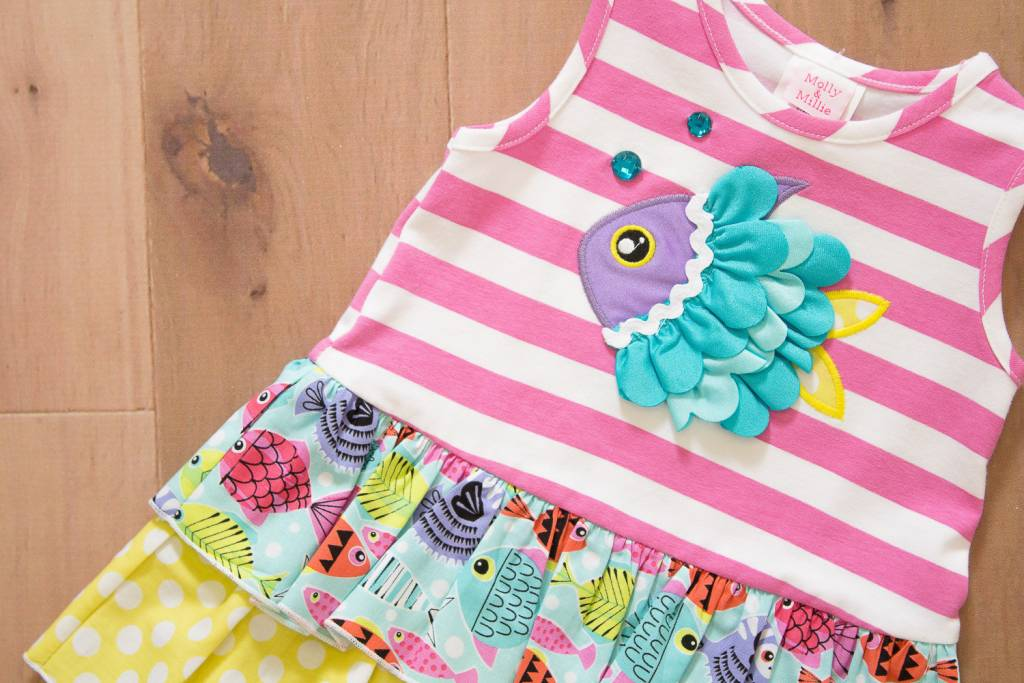 Molly & Millie Molly & Millie Ruffled Fish Dress Girls