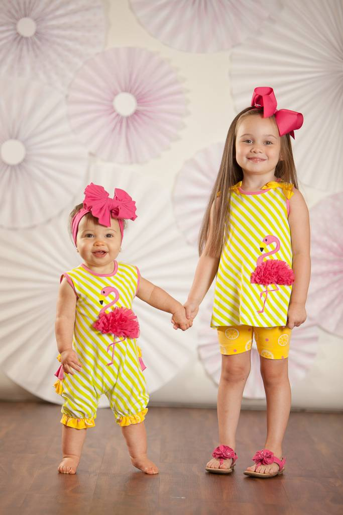 Molly & Millie Molly & Millie Flamingo Tunic with Bike Shorts Girls