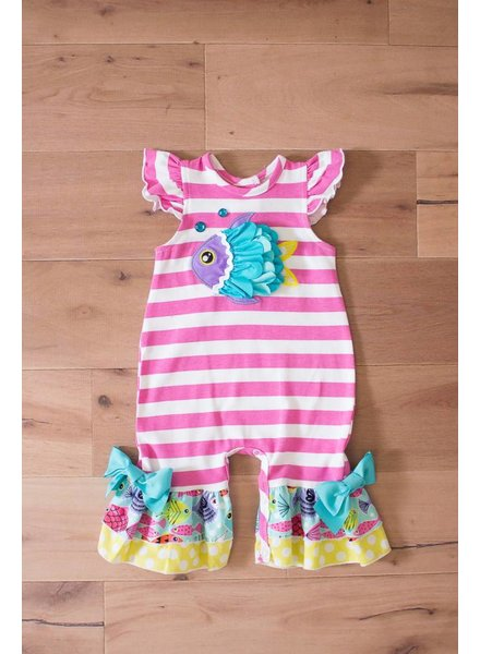 Molly & Millie 717-9714 Molly & Millie Infant Girls  Fish Romper