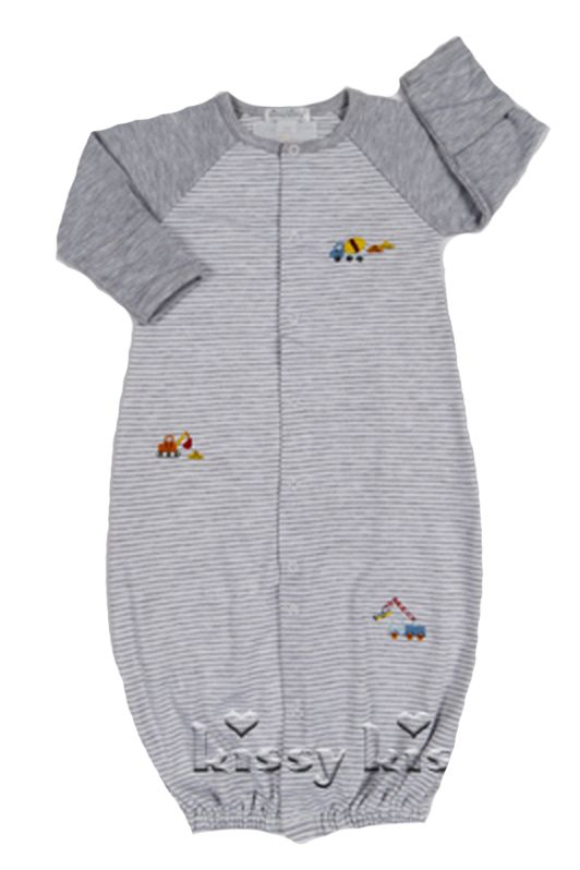 KISSY KISSY Kissy Kissy Work Zone Stripe Baby Boys Converter Gown Short Playsuit