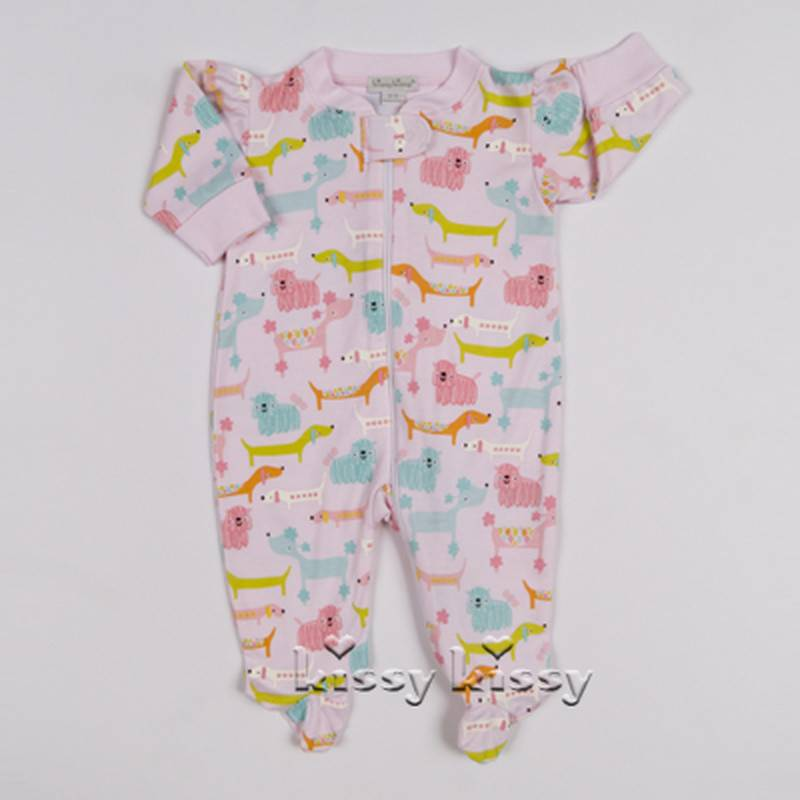 KISSY KISSY Doggie Divas Print Baby Girls Footie with Zipper