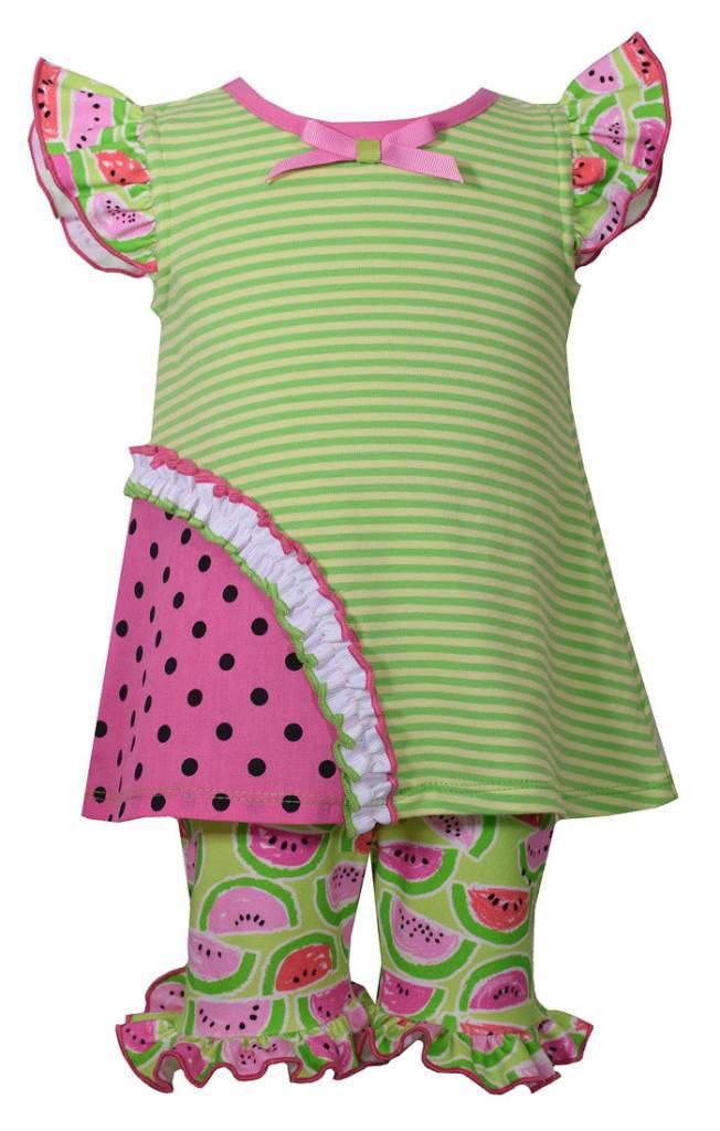 BONNIE JEAN Watermelon Capri Set 2t-4t