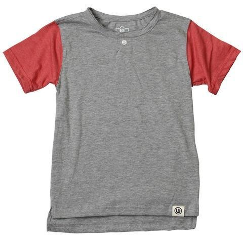 JACK THOMAS Short Sleeve Baseball Henley Nantucket Red