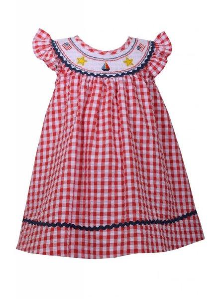 BONNIE JEAN Red Gingham Smocked Dress 4-6x