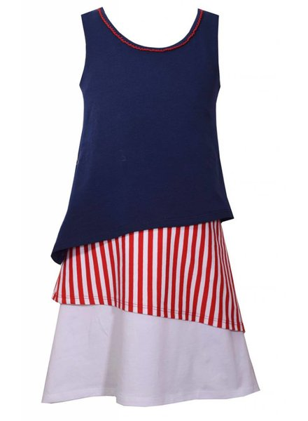 BONNIE JEAN Girls Red White and Blue Knit Tiered Dress