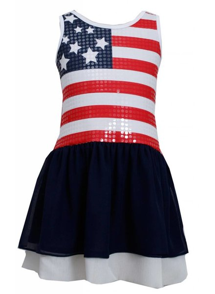BONNIE JEAN Girls Red White and Blue Sequined American Flag Dress