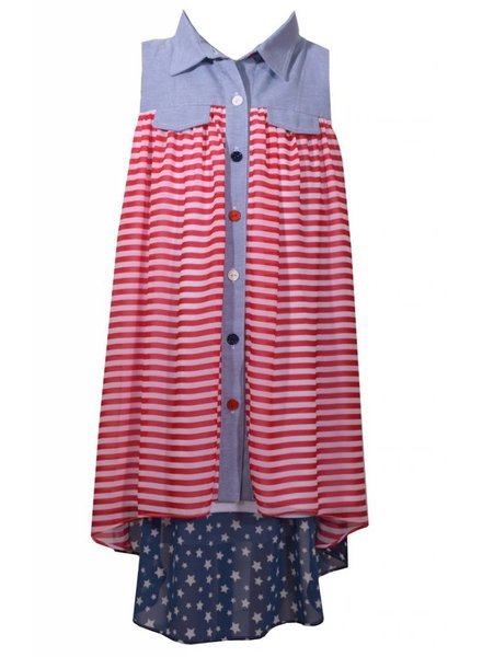BONNIE JEAN S49563 AMERICAN SHIRT DRESS