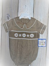 Three Sisters Smocked Seashells Baby Boy Bubble