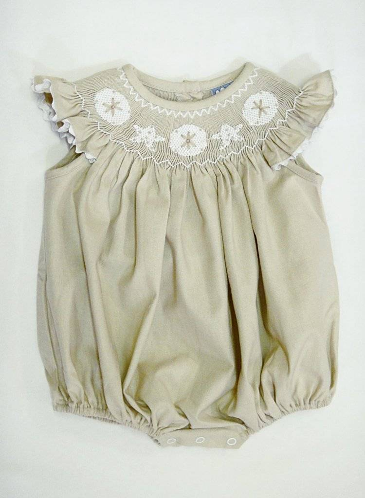 Three Sisters Smocked Seashells Angel Sleeve Girl Bubble