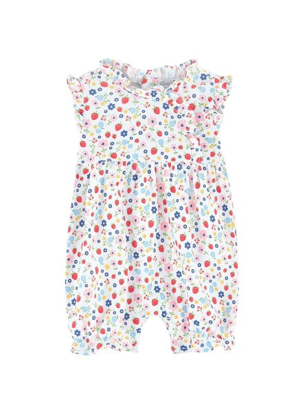 KISSY KISSY Strawberry Delight Print Sleeveless Pima Cotton Short Playsuit