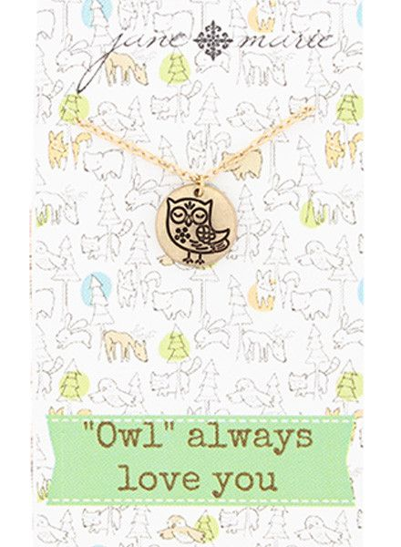 "JANE MARIE Owl Necklace (14"" with 2""extender)"