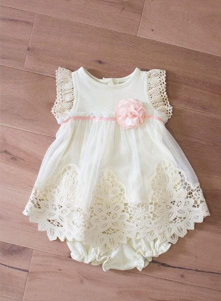 PEACHES N' CREAM Ivory Lace Dress with Bloomers