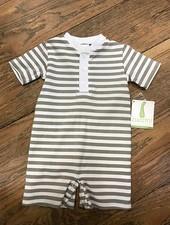 ZUCCINI CORP Grey and White Striped Polo Romper