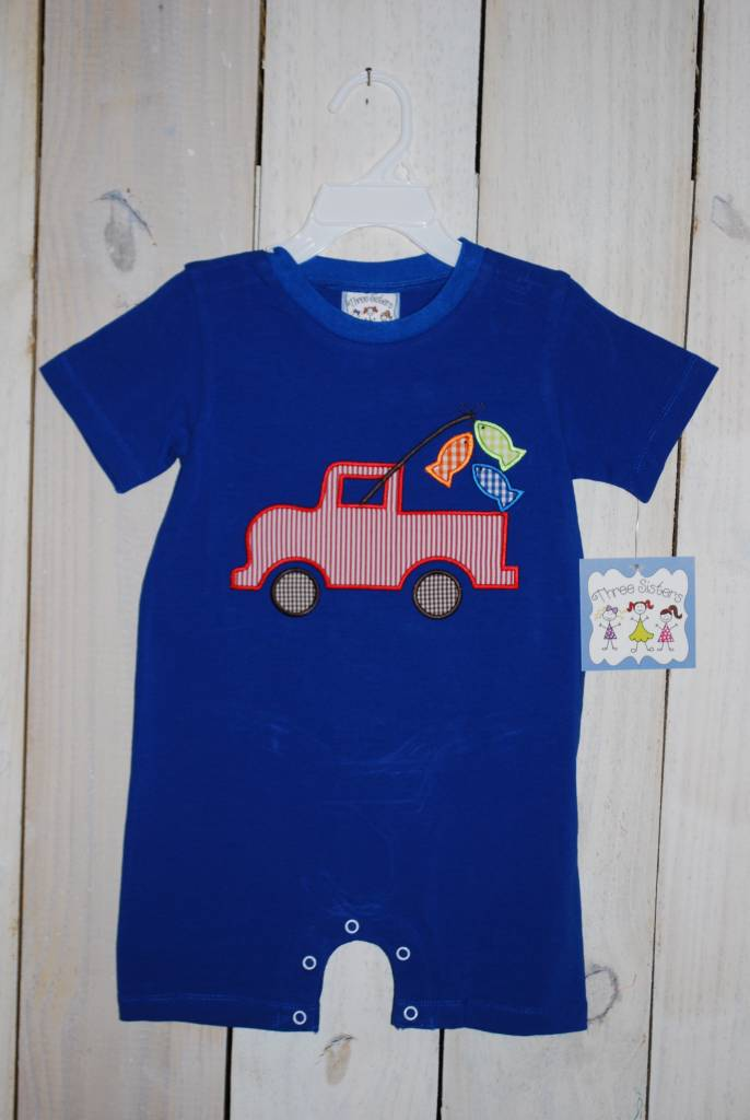 Three Sisters Gone Fishing Appliqued Romper
