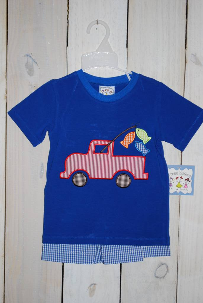 Three Sisters Gone Fishing Appliqued Short Set