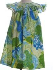 MOM & ME Smocked Paisley Pearl Dress