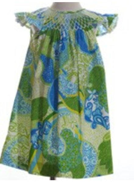 MOM & ME Smocked Paisley Pearl Dress