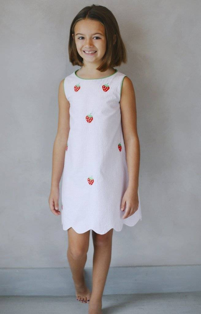 Little English Embroidered Bow Back Dress Strawberry