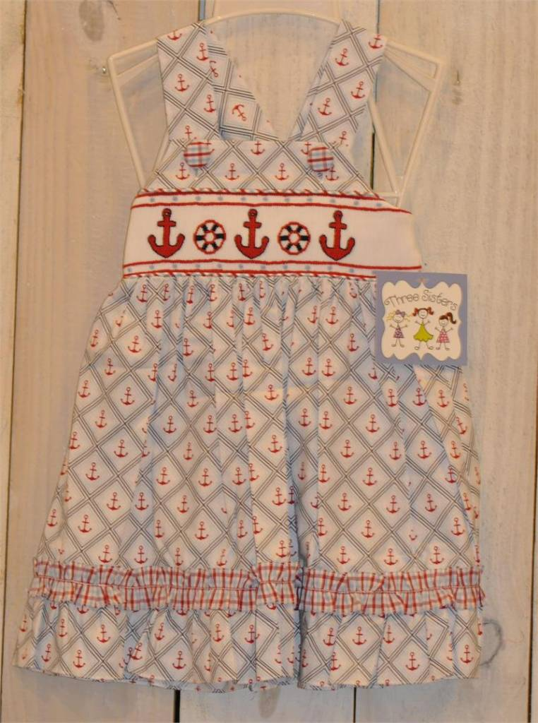 Three Sisters Anchors Away Smocked Dress