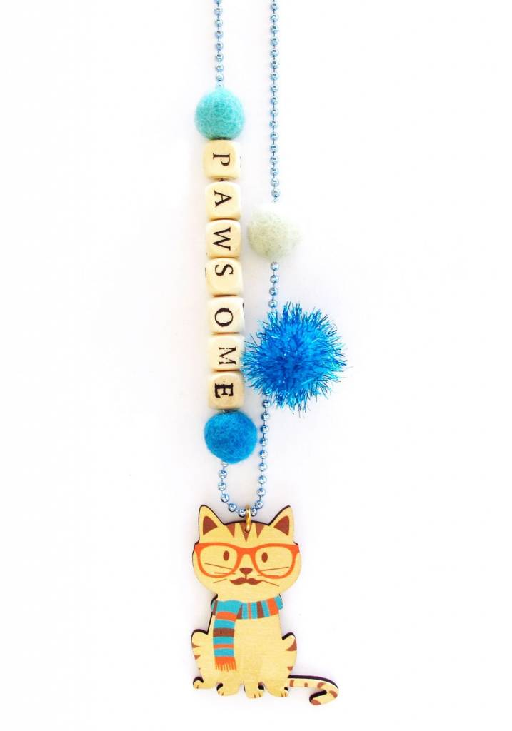 "Sadie's Moon ""Pawsome"" Cat Necklace With Push Pop"