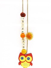 """Sadie's Moon """"Think Big"""" Owl Necklace With Push Pop"""