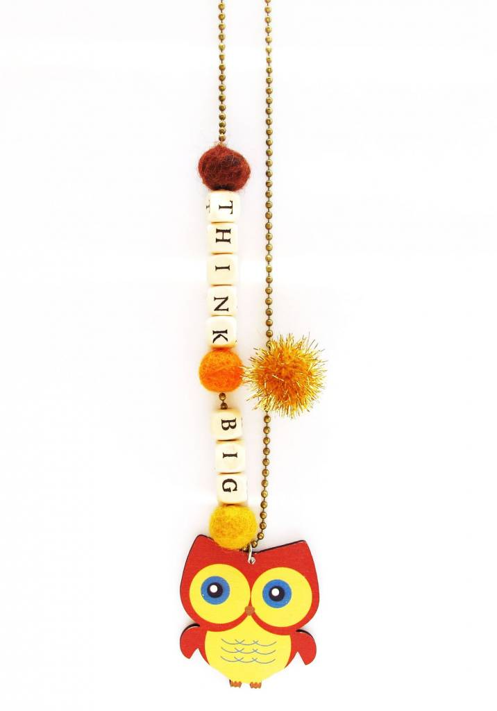 "Sadie's Moon ""Think Big"" Owl Necklace With Push Pop"