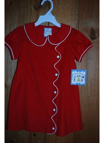 Three Sisters Red Cord Scalloped Dress