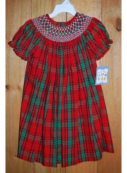 Three Sisters Ho Ho Ho Smocked Geo Bishop Dress
