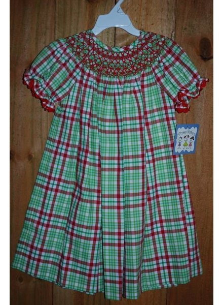 Three Sisters Christmas Time Smocked Geo Bishop Dress