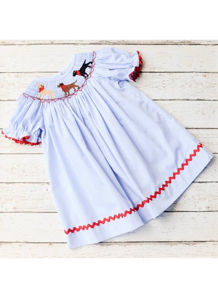 BANANA SPLIT KIDS Puppy Smocked Bishop Dress