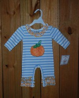 Three Sisters Pumpkin Applique Girls Knit Romper
