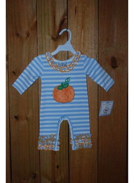 Three Sisters Pumpkin Applique Girls Knit Romper