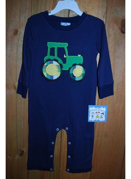 Three Sisters Tractor Applique Knit Romper