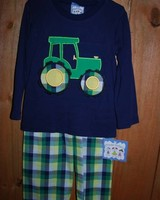 Three Sisters Tractor Applique Tshirt and Pants